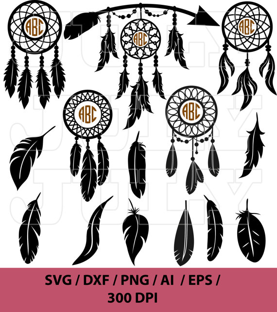 Dream Catcher Svg Monogram Feather Svg Indian By Julydigitalimages With Images Native American Svg Dream Catcher Indian Dream Catcher
