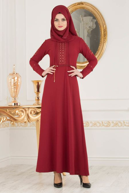 Photo of Nayla Collection – Detailed Sleeves Claret Red Dress 10110BR – Tesetturisland.com