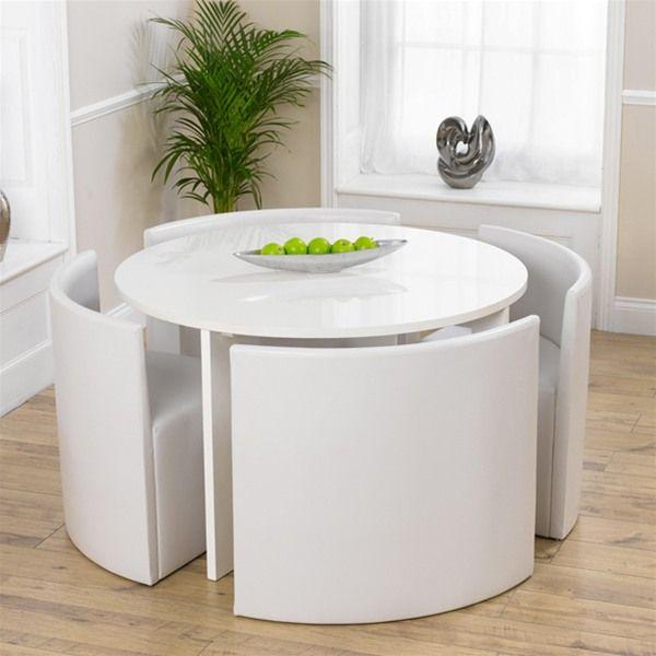 Sophia Round High Gloss White Stowaway Dining Set