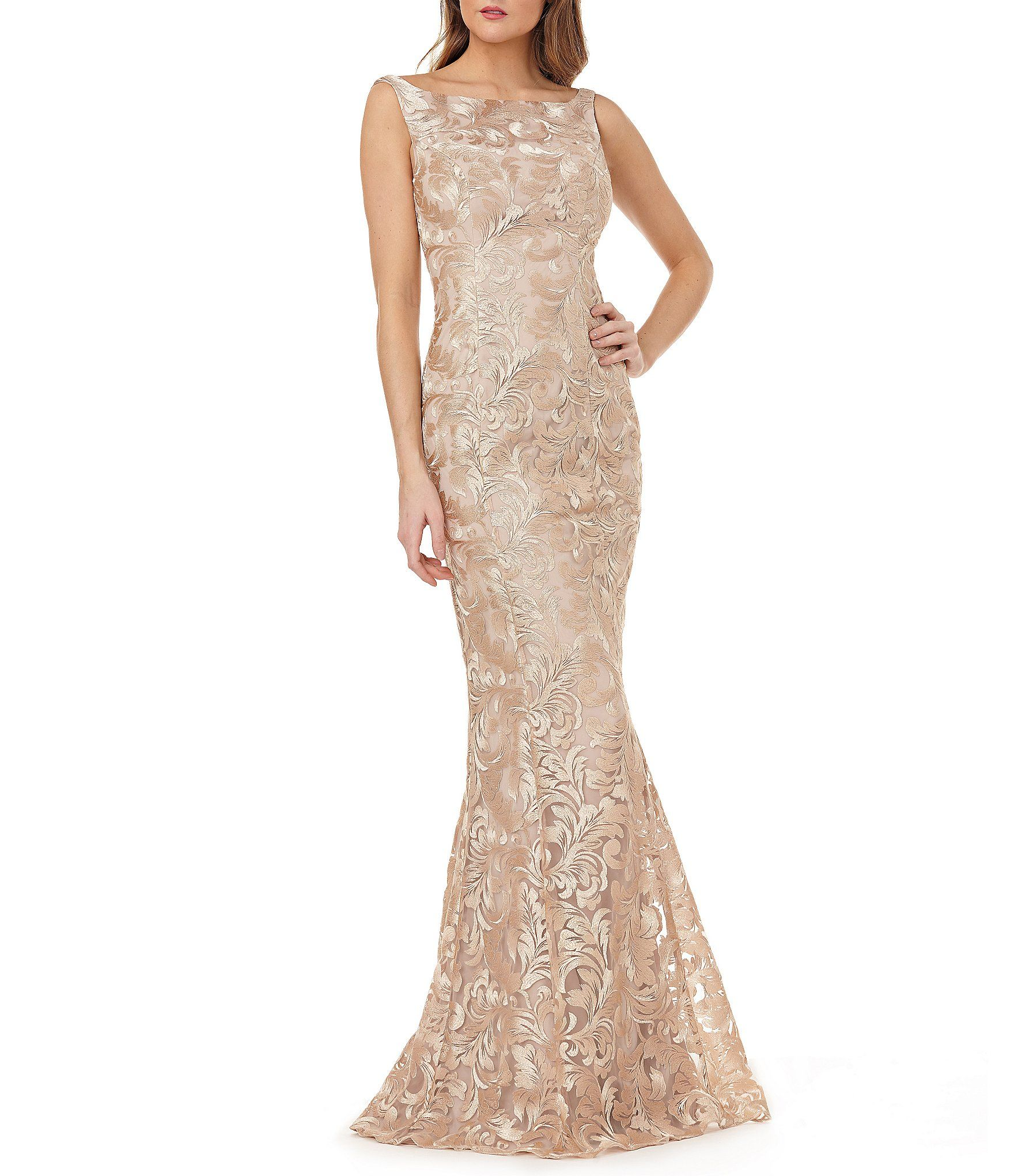 Kay Unger Metallic Floral Embroidery Fitted Gown In Champagne At Dillards Com 328 Dillards Wedding Dresses Dillards Dress Pretty Wedding Dresses