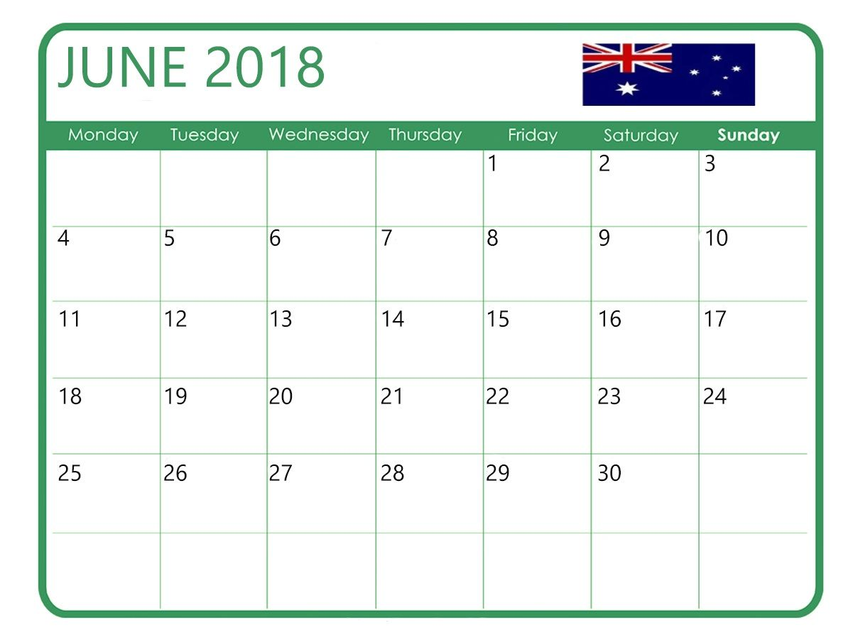 June 2018 Calendar For Australia Calendar Holiday Calendar