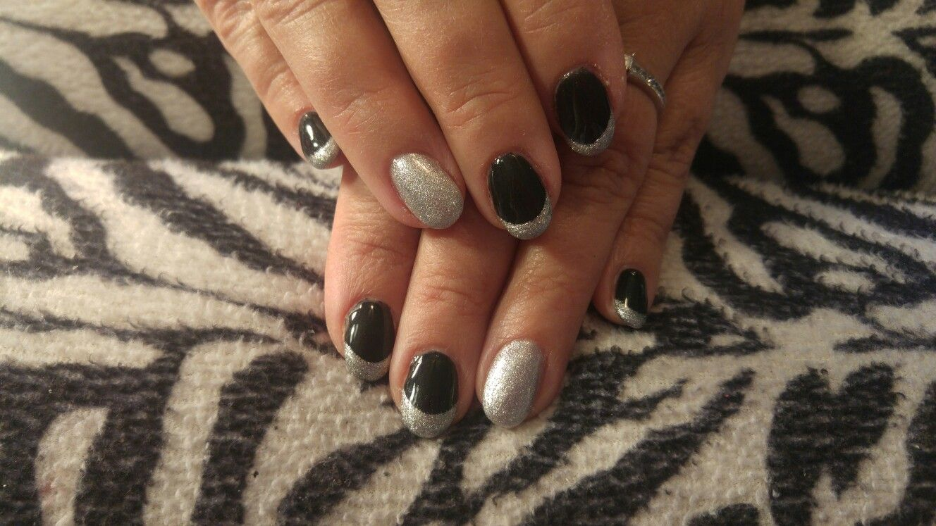 Winter nail design! Acrylic nails with hand painted French tips and ...