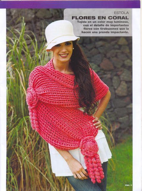 Patrones para Crochet: Chal Estola con Flores Tirabuzon Patron ...