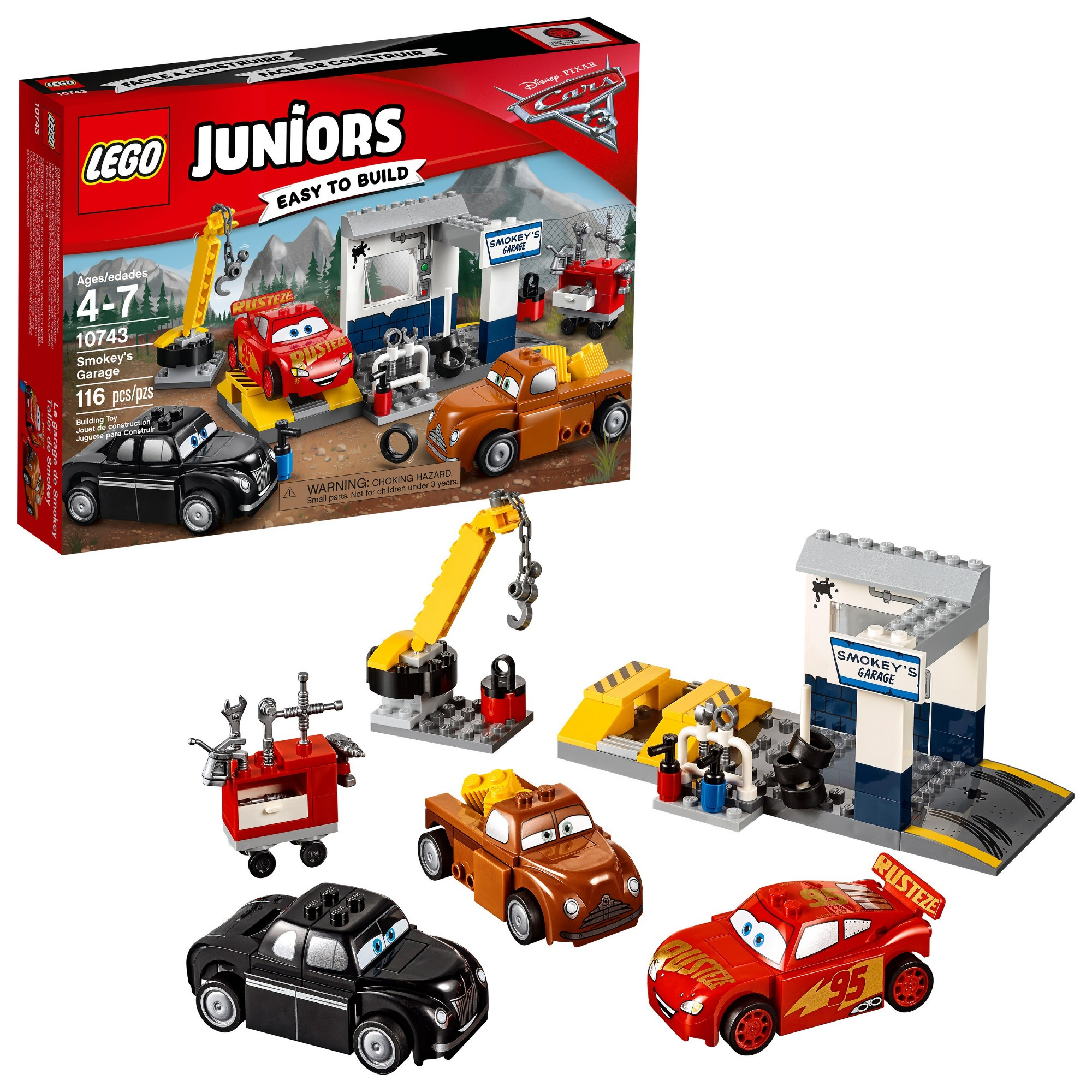 Lego Juniors Disneypixar Cars 3 Smokey S Garage 10743 Lego Juniors Lego Junior Sets Disney Pixar Cars