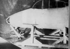 """Wooden mock-up nose-section photo of the Ju EF.127 """"Walli""""."""