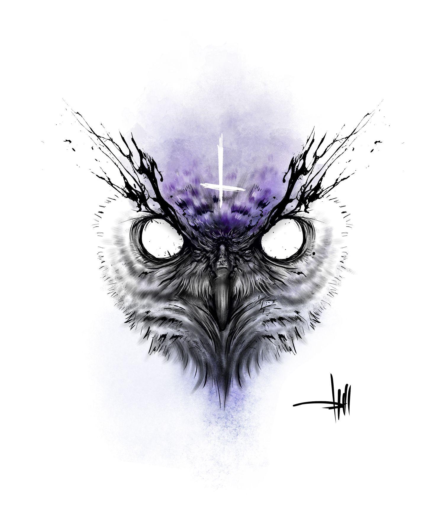 Evil Owl Design For A Tattoo Owl Eye Tattoo Owl Neck Tattoo Owl Tattoo Design