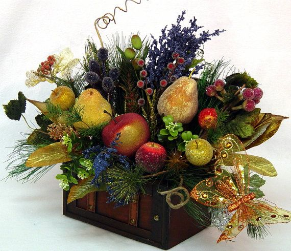Fruit floral arrangement centerpiece williamsburg treasure Floral arrangements with fruit