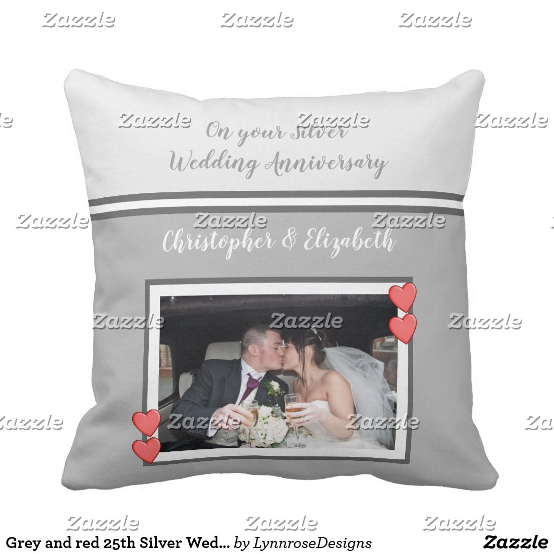 Anniversary gray and red with names and a photo throw pillow
