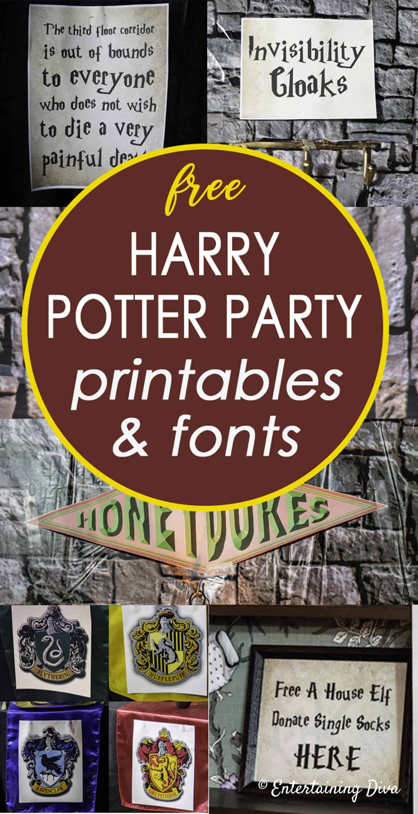 Harry Potter Party Printables And Fonts Entertaining Diva From House To Home Harry Potter Classroom Harry Potter Printables Harry Potter Decor