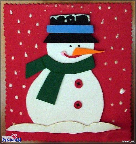 sencilla tarjeta de navidad con foamy hecha por flori en pinacam
