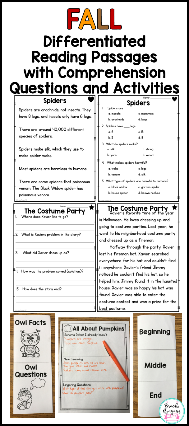 - Reading Comprehension Passages And Questions: Fall Differentiated