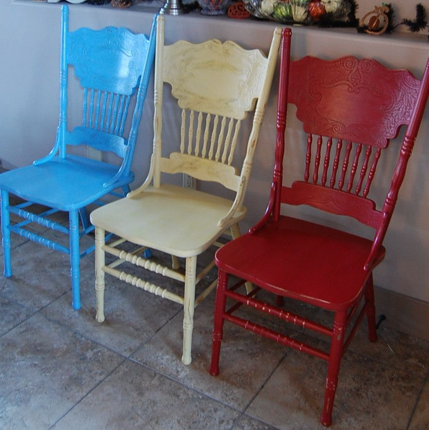 Pressed Back Chairs, I Tried Chalk Paint On The Yellow