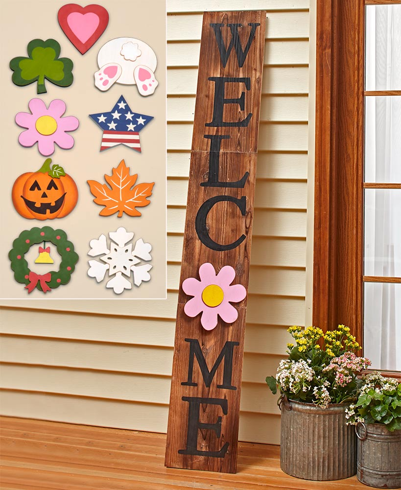 10 Pc Interchangeable 5 Ft Welcome Sign Wooden Welcome Signs Welcome Signs Front Door Welcome Wood Sign