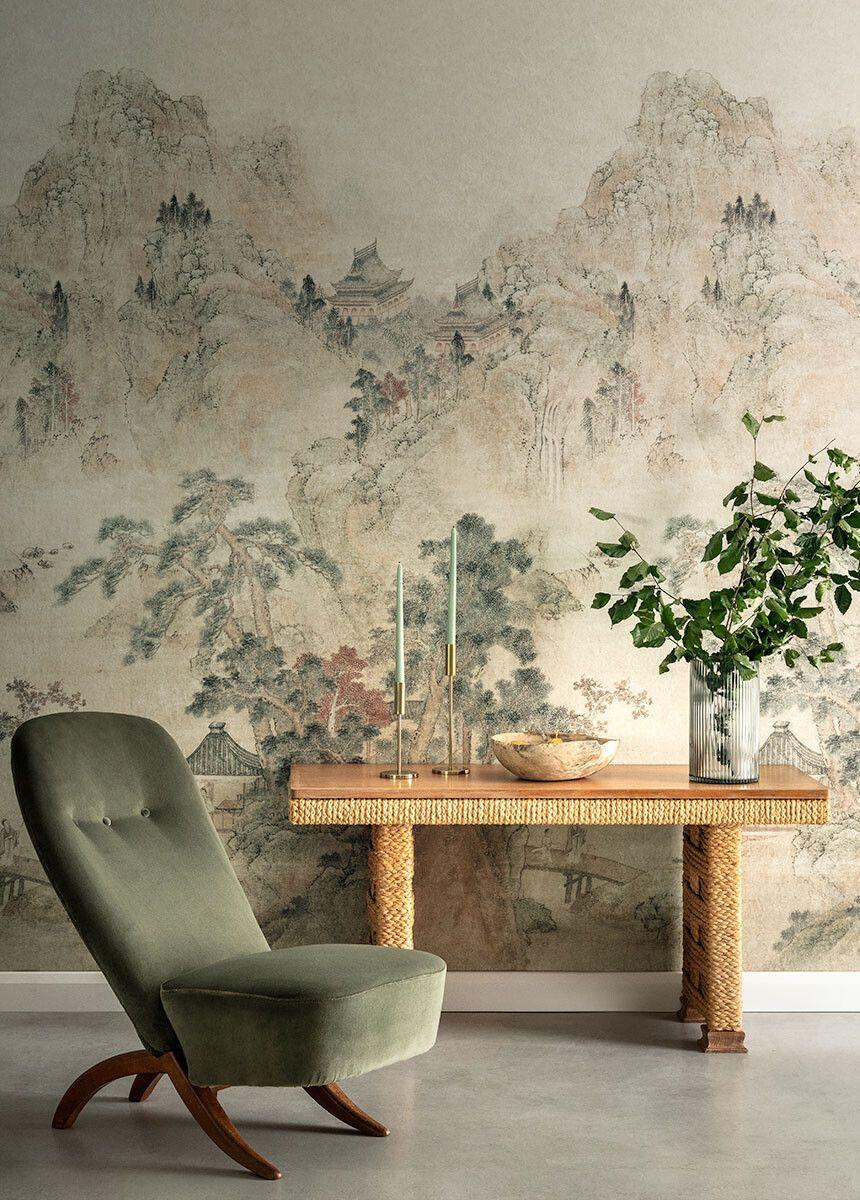 'Ming Mountain Linen' Wallpaper Mural | V&A Asian Wallpaper