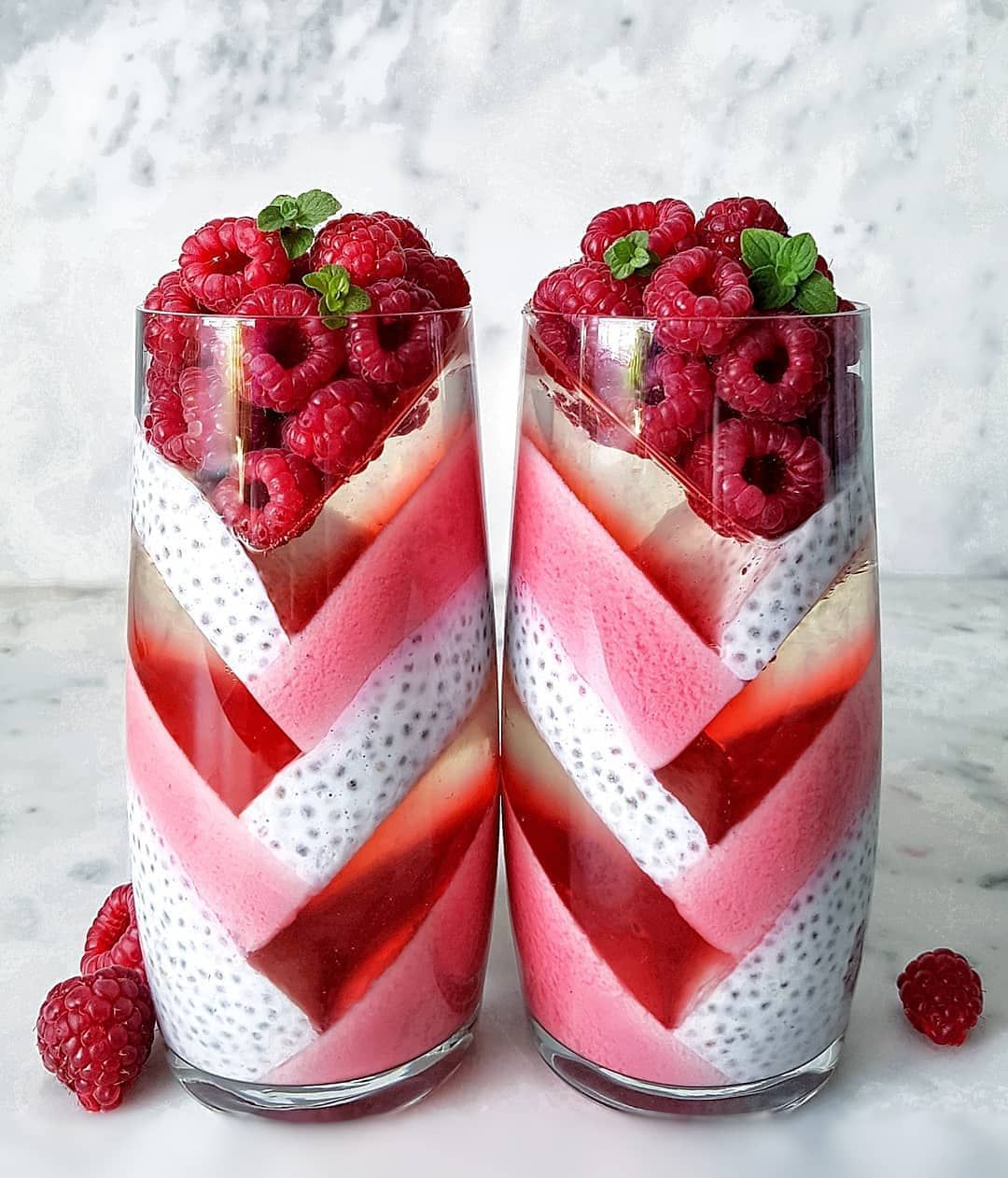 Healthy Food On Instagram Beverage Food Photography Of Smoothie With Raspberries Chai Seeds Red White Pink Co Yogurt Dessert Popular Desserts Desserts