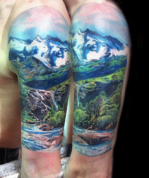 Mens Realistic Landscape Nature Tattoo Half Sleeve | Earth ...