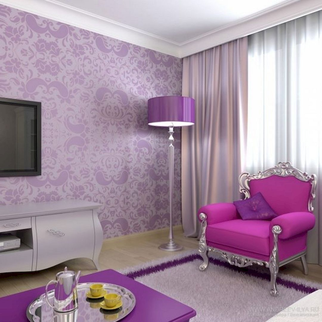romantic purple living room design ideas for young couple