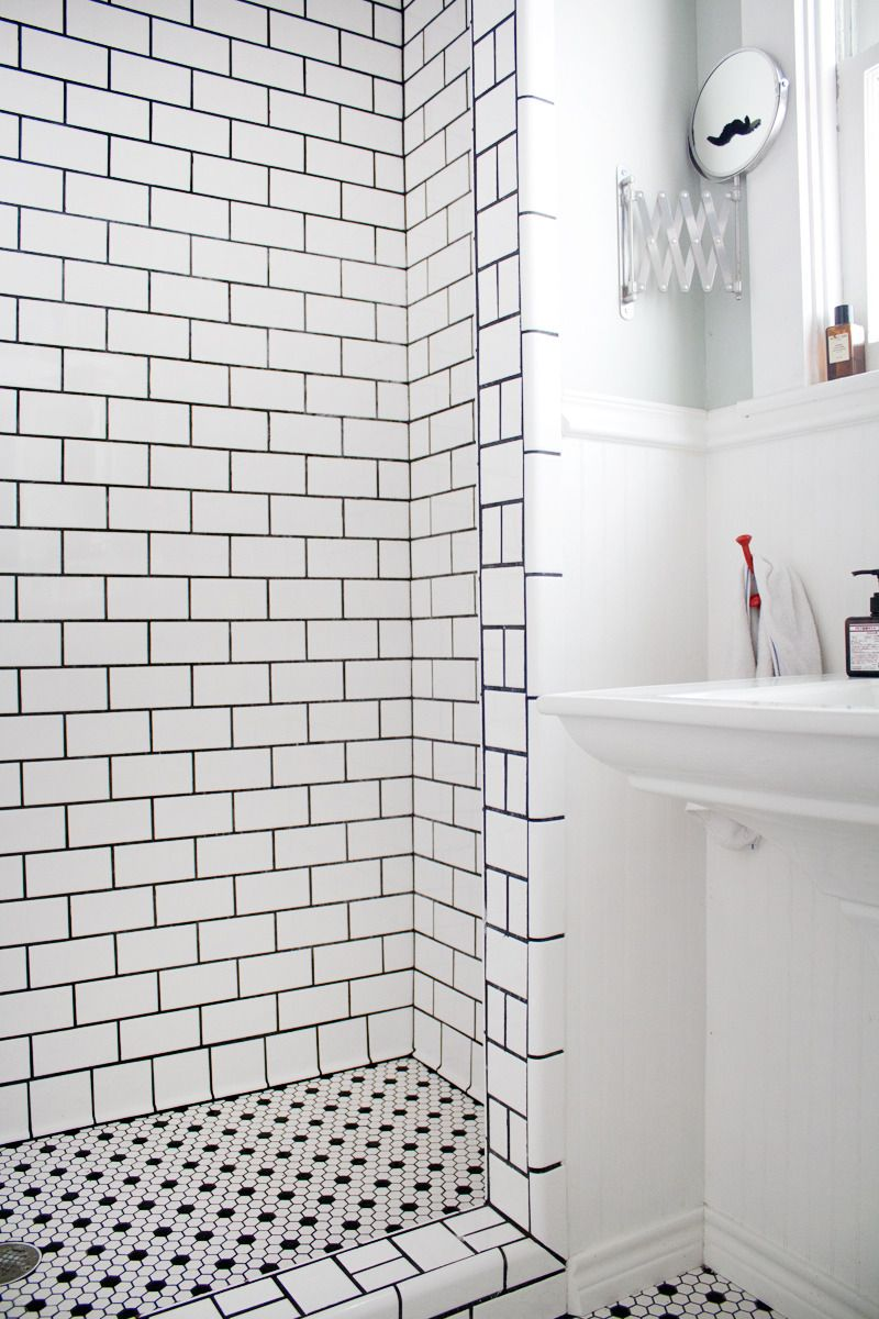 Eric S Stylish Sunshine Filled House White Tiles Black Grout Shower Floor Subway Tile Showers