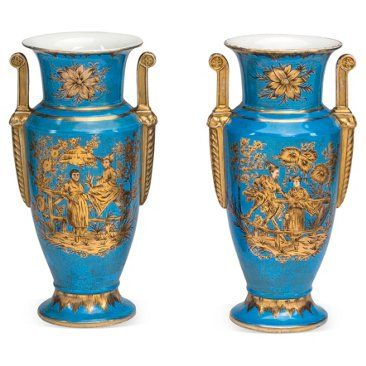 Check out this item at One Kings Lane! French-Blue Chinoiserie Urns, Pair