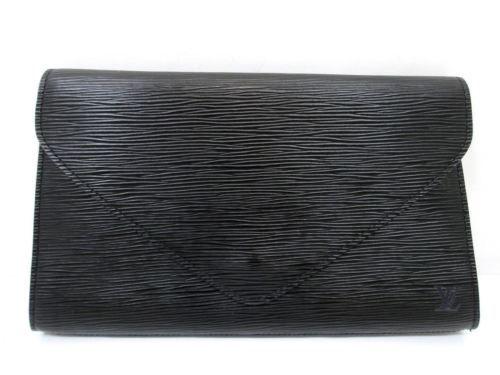 310ca3972fe15 Authentic LOUIS VUITTON Epi Art Deco M52632 Clutch Bag Black Leather 61048