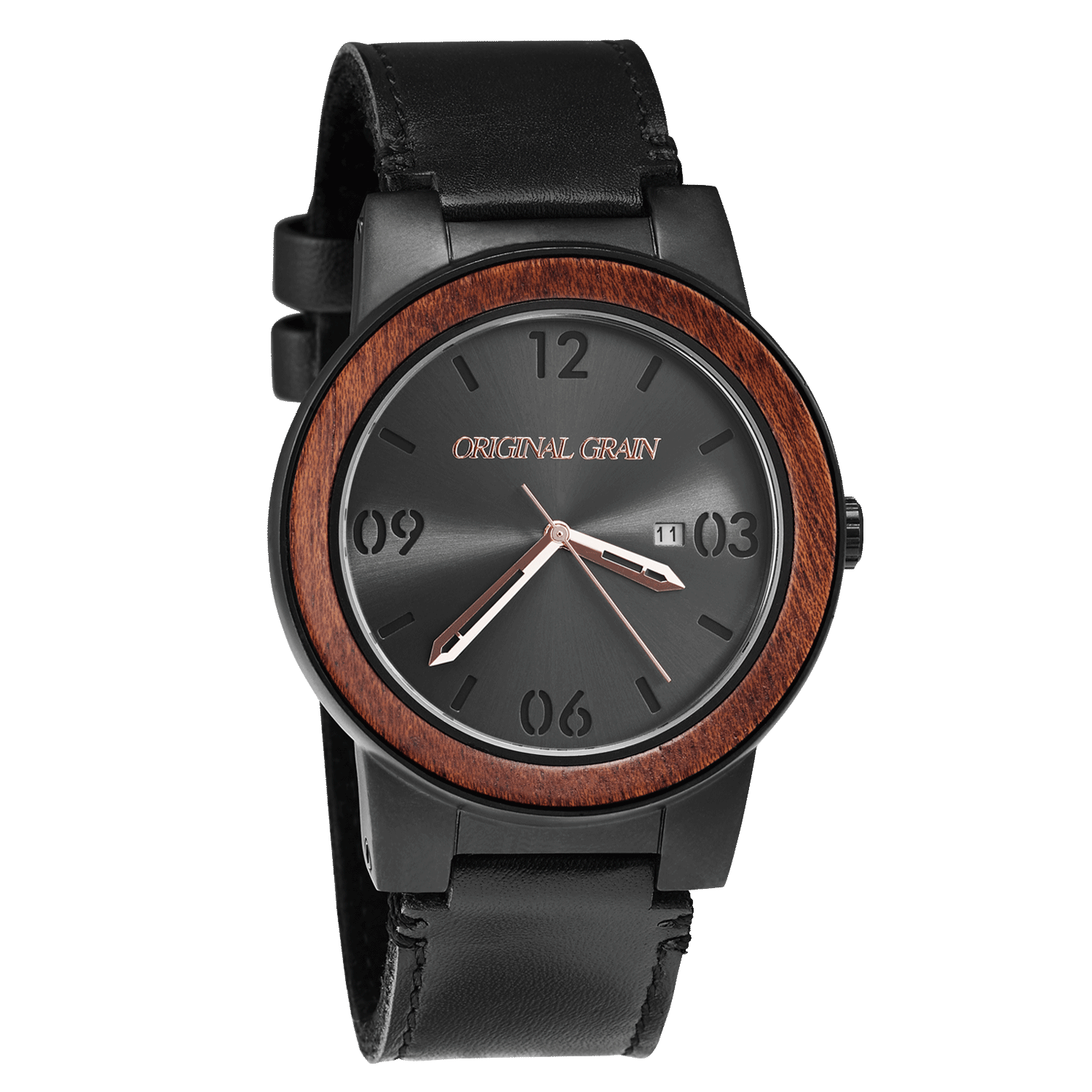 FEATURES All Natural Inlaid SapeleBezel Premium Black Italian Leather Band Mineral Crystal Glass ( Scratch Resistance ) Matte Black 316L...