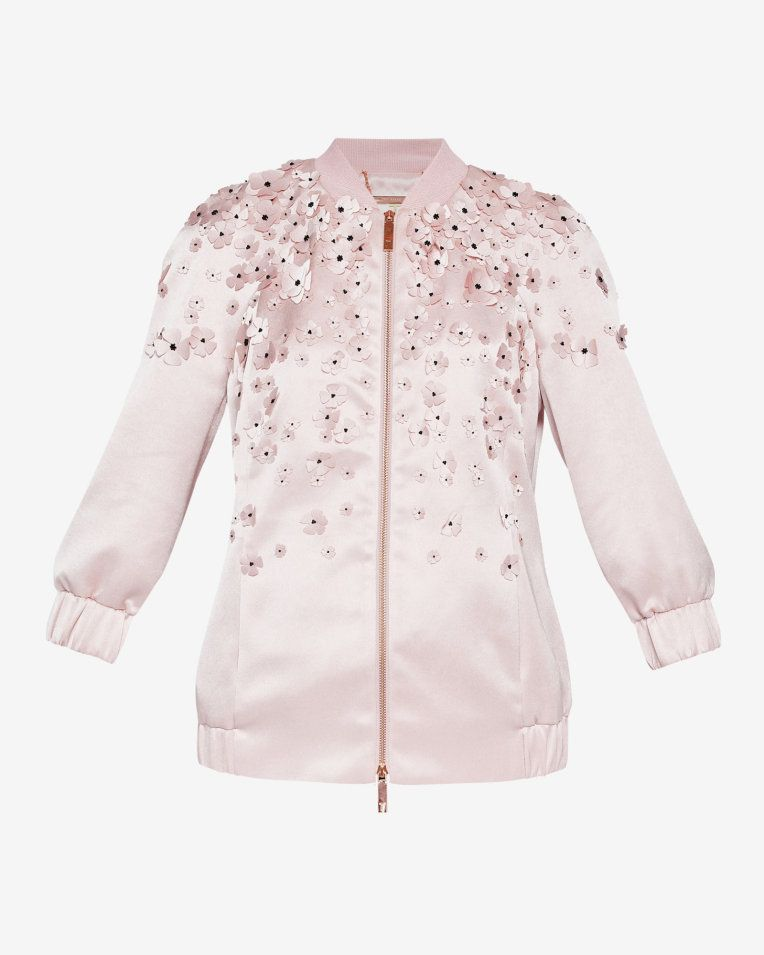 8c45cb077 Embellished satin bomber jacket - Pale Pink | Back To The Fuchsia ...