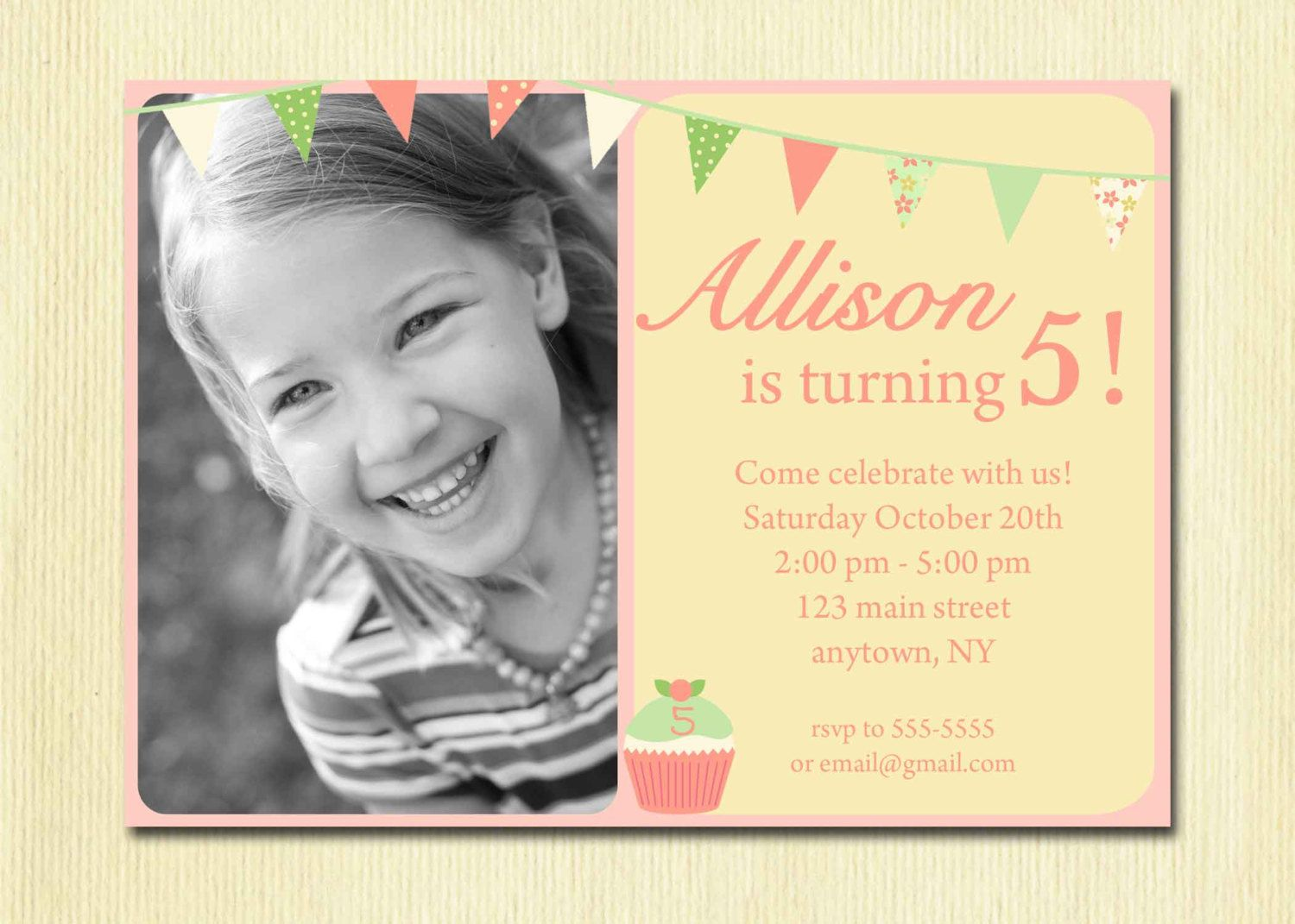 Girls Birthday Invitation Bunting cupcake DIY Photo Printable – 3 Year Old Birthday Invitation