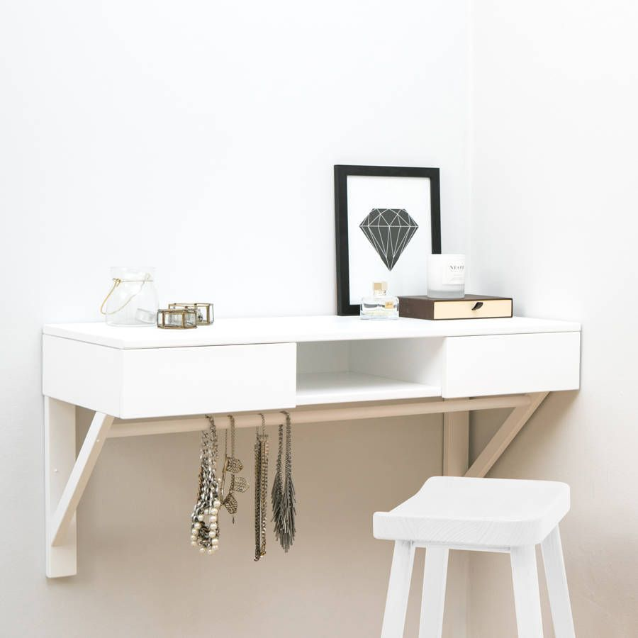 Floating Dressing Table With Drawers And Jewellery Rail Dressing Table With Drawers Dressing Table Girls Vanity Table