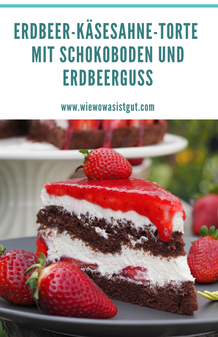 Photo of Strawberry cheese cream cake with chocolate base and strawberry icing