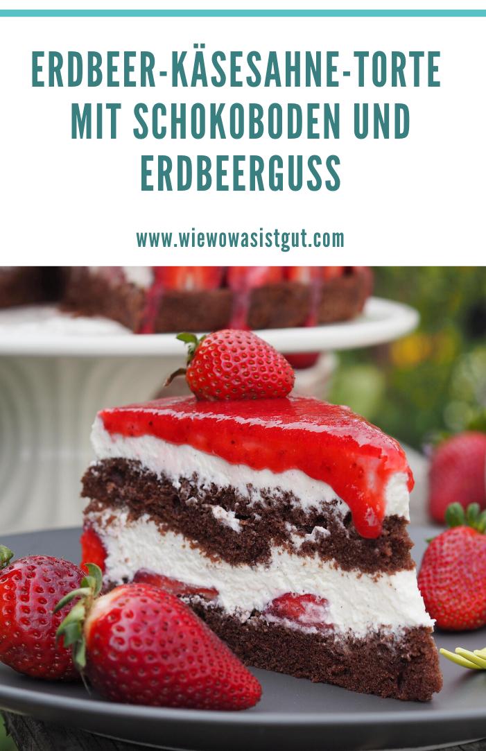 Erdbeer-Käsesahne-Torte mit Schokoboden und Erdbeerguss  #foodsanddesserts