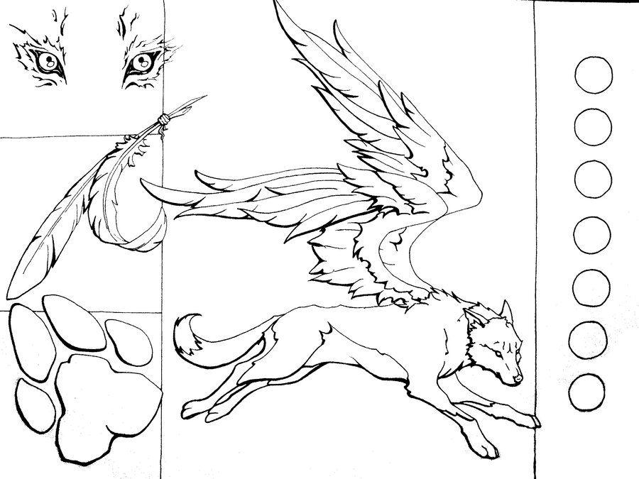Winged Wolf Lineart By Howlingshadow13 On Deviantart Line Art Wolf Art