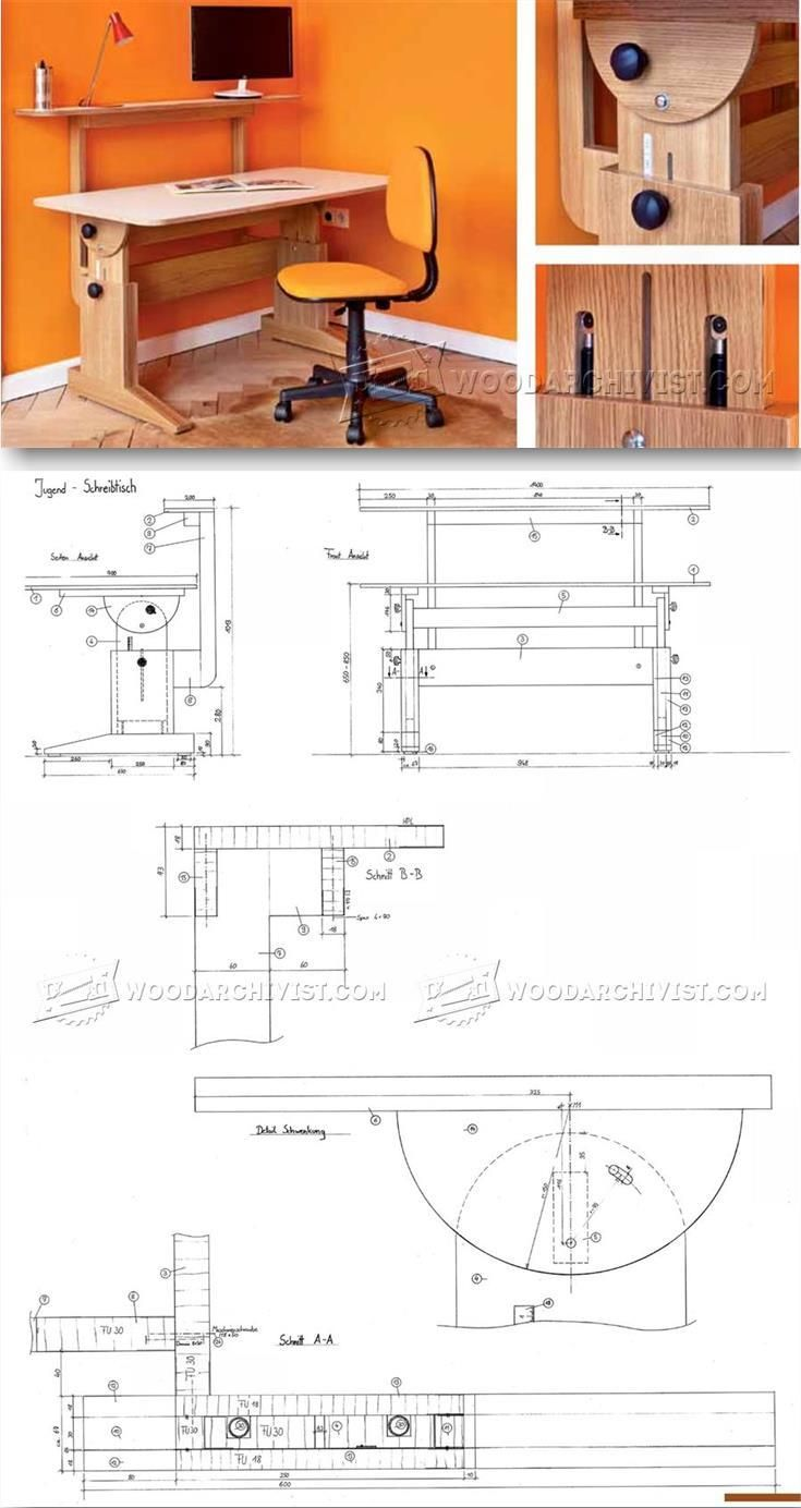 study desk plans furniture plans and projects woodarchivist com [ 735 x 1384 Pixel ]