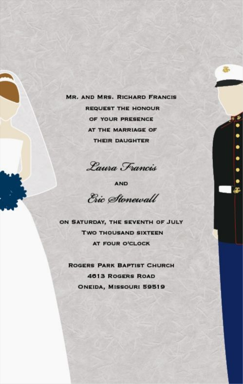 Flat Rectangle Wedding Invitations Military Themed Marines Usmc