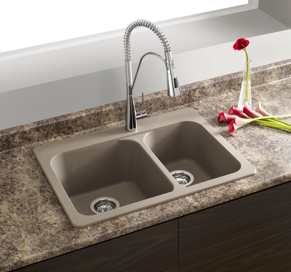 Vision 1 Double Bowl Drop-in Kitchen Sink, SILGRANIT Granite Composite