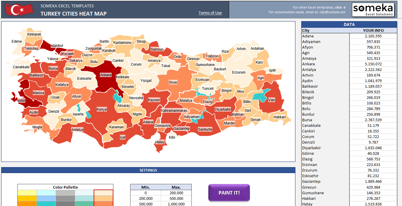 Turkey Geographic Heat Map Generator | Geographic Heat Map ...