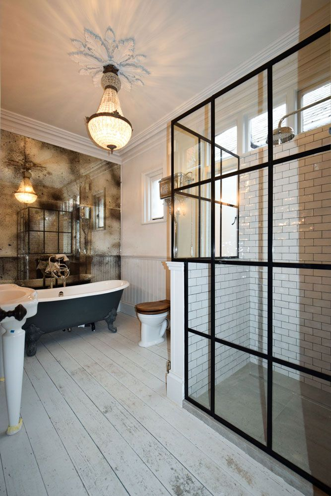Industrial style shower screen made by Creative Glass