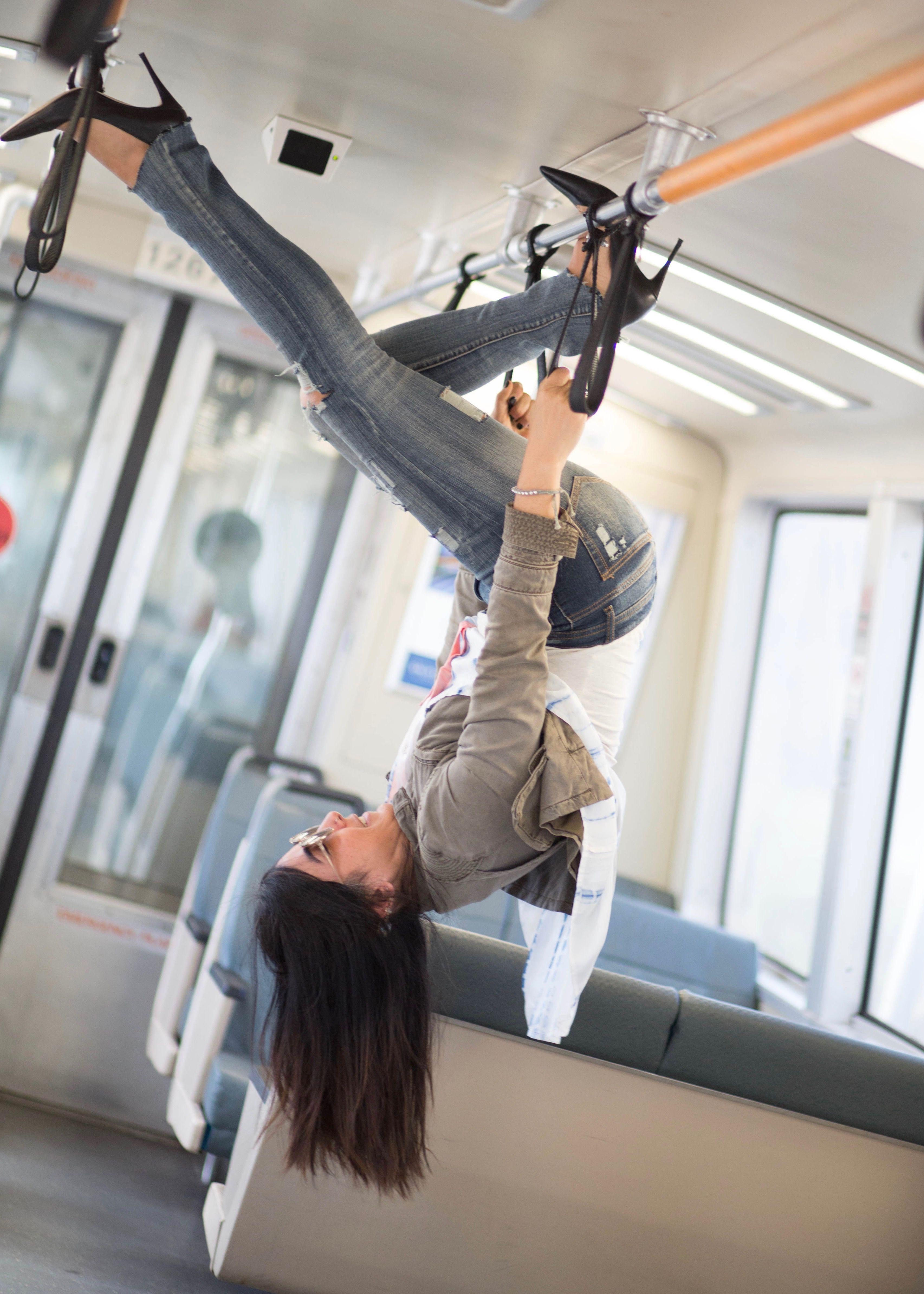 Just hanging around. Subway photos. BART pics. Fitness fun. subway fashion photo shoot
