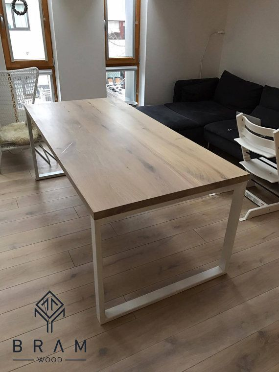 Bleached oak dining table with strong metal legs. Can be customized ...