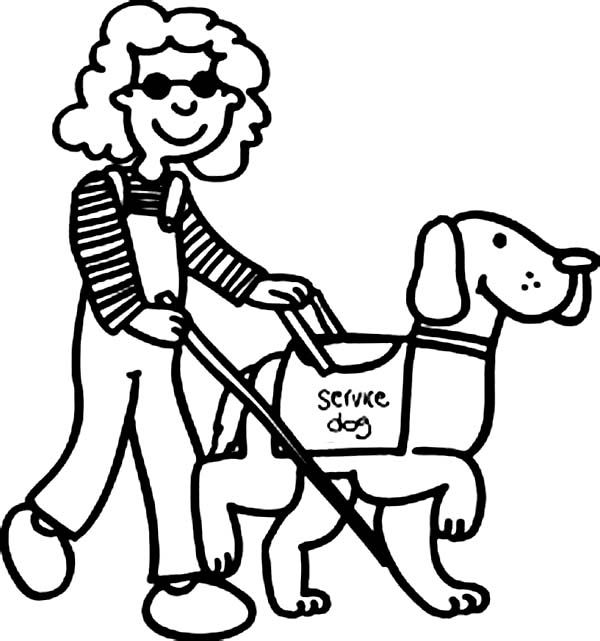 Beautiful Girl With Disability Walking With Dog Coloring Page