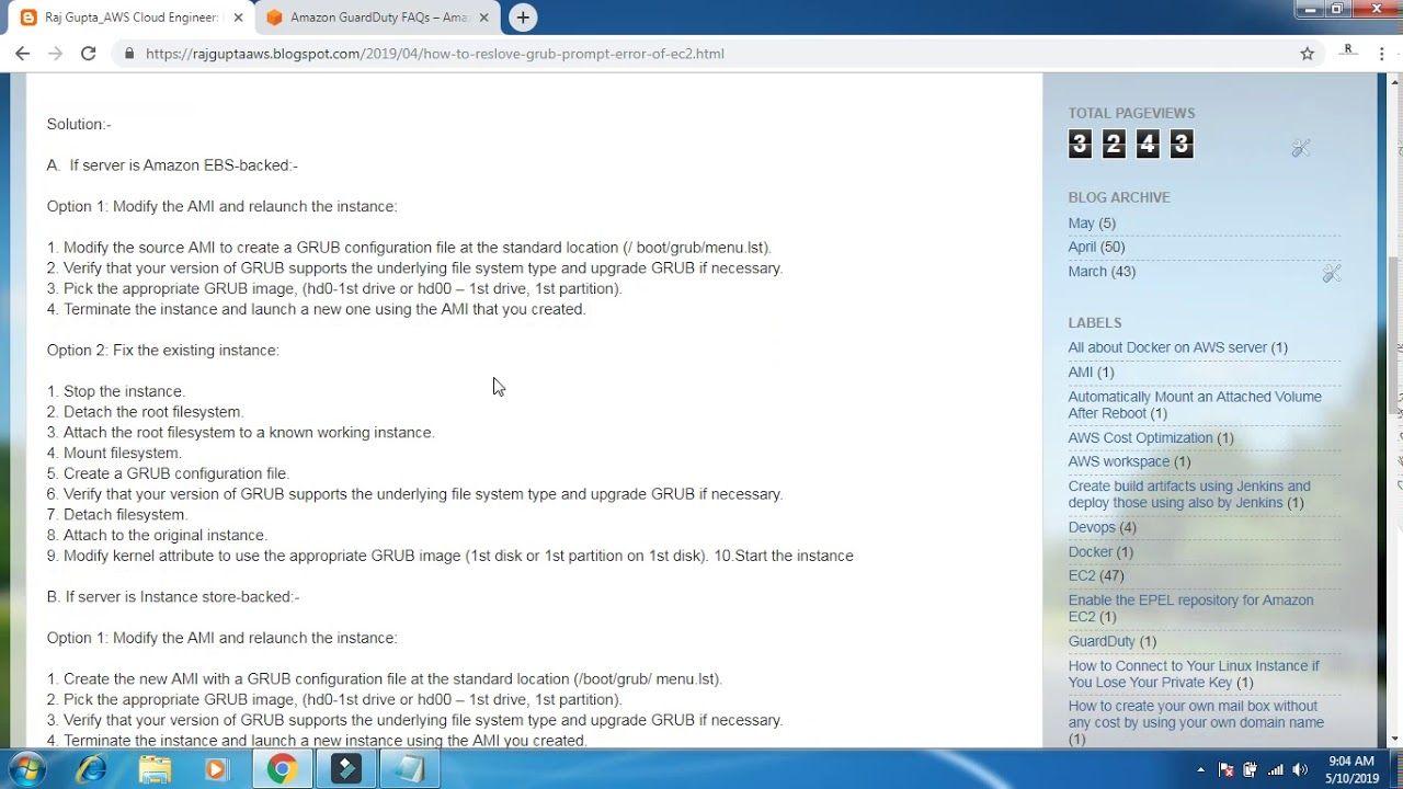 How To Resolve Grub Prompt Error Of Ec2 Server Aws In English Raj Gupta Prompts Server Grubs
