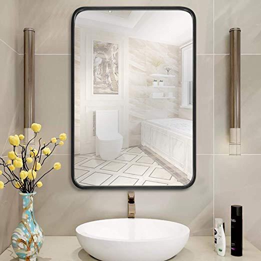 Amazon Com Leoriso 32 X 20 Wall Mirror Large Bathroom Mirror 1 2 Black Metal Rectangula In 2020 Black Bathroom Mirrors Large Bathroom Mirrors Wall Mounted Mirror