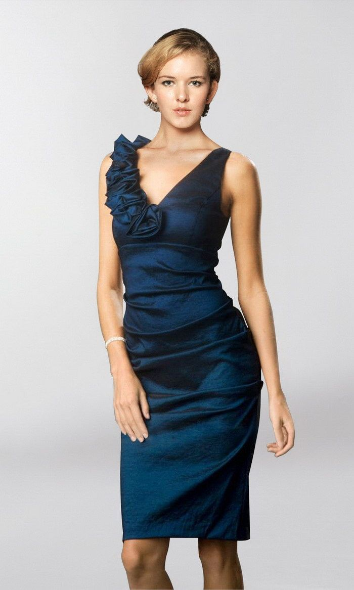 Buy Magic Chic Straps V-Neck Column Flower Ruffle Blue Taffeta ...