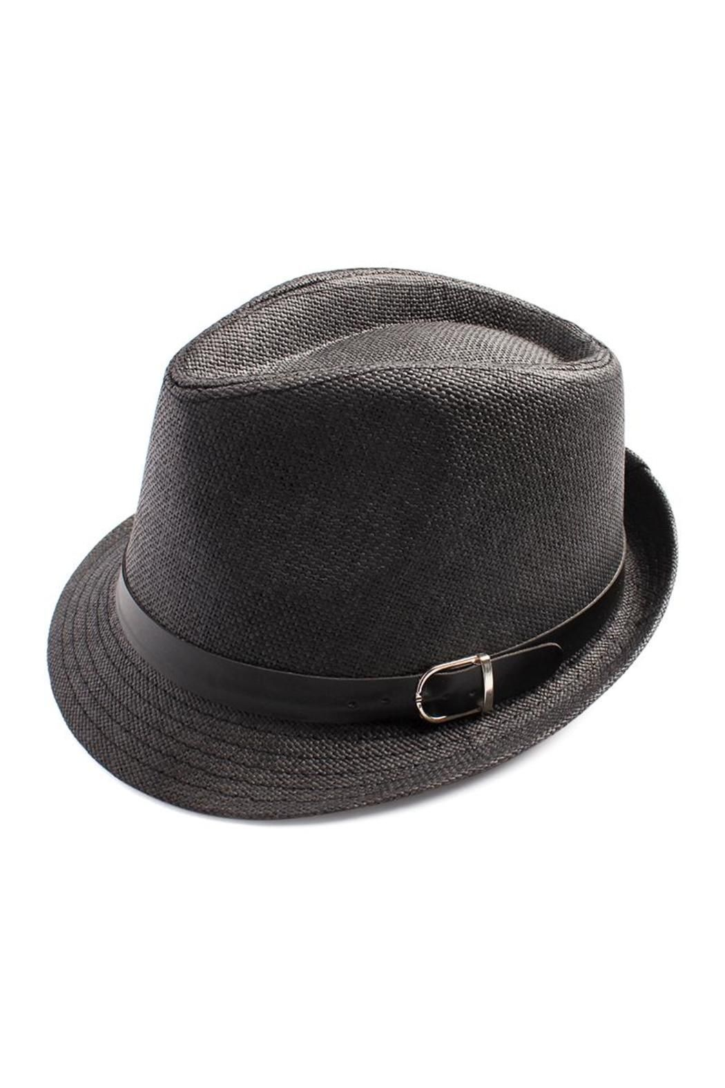 "A smooth faux-leather belt encircles a classic fedora hat featuring a unique woven finish.     Measurements: 23"" Circumference, 5"" Crown, 1.2"" Brim   Short Brim Fedora by Riah Fashion. Accessories - Hats California"