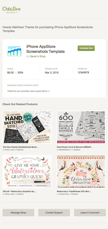 Receipt For Iphone Appstore Screenshots Template By Xavier S Shop On Creative Market Creative Market Marketing Creative