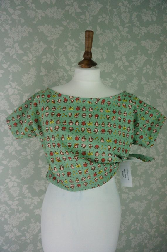 Vintage style handmade monkys printed top by KatieStevensDesigns