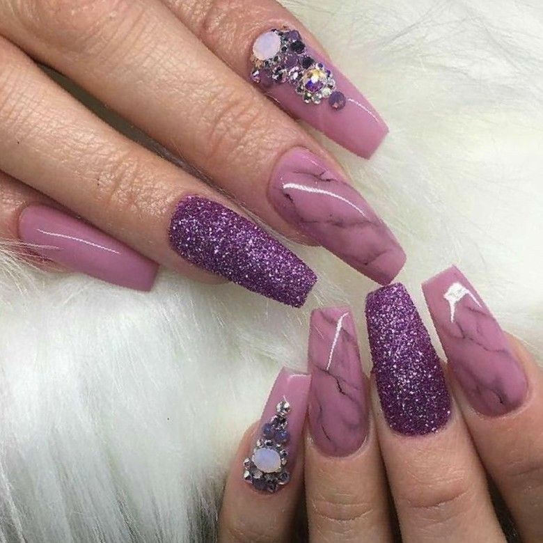 Tapered Square Nails Purple Nails Marble Nails Glitter Nails Acrylic Nails Purple Nails Wedding Nails Glitter Tapered Square Nails