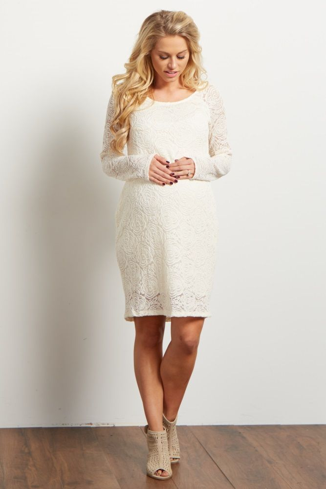 14bccba011185 Style yourself in this amazing maternity dress for those special occasions.  This dress features a feminine lace rosette overlay and flattering  silhouette to ...