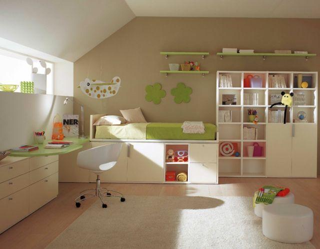 Wunderbar Kinderzimmer Einrichten Ideen Schönes Design Grasgrünes Bett Wandregal  Kleines Fenster