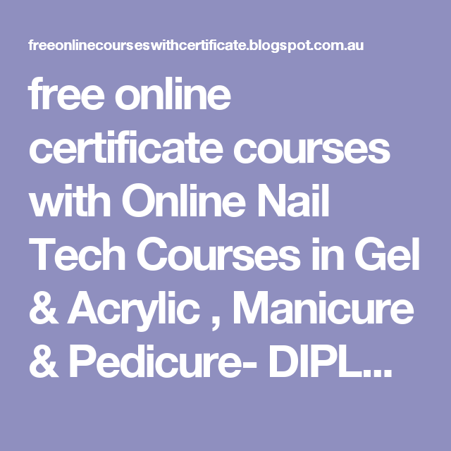 free online certificate courses with Online Nail Tech