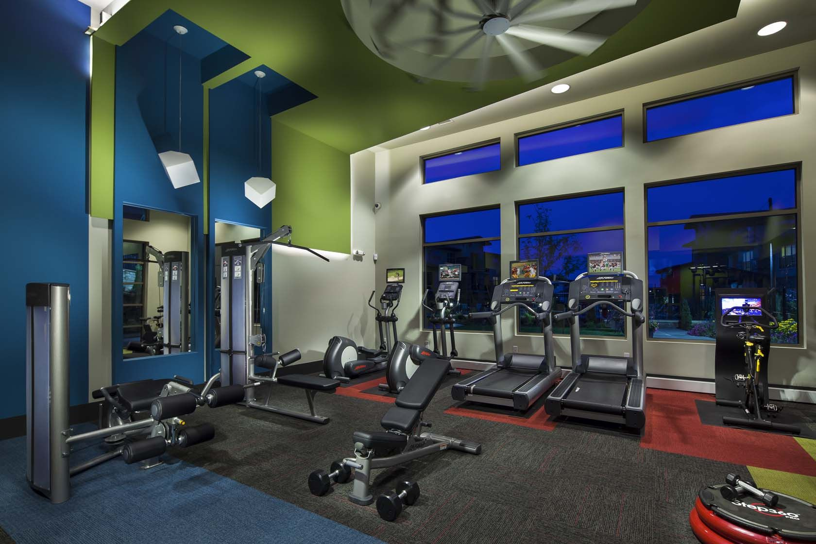 Fitness Center Looks Cool But Needs A More Campy Feel Gym Interior Gym Design Wellness Design